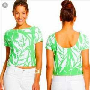 {Lilly Pulitzer} Green & White Palm Crop Top Med